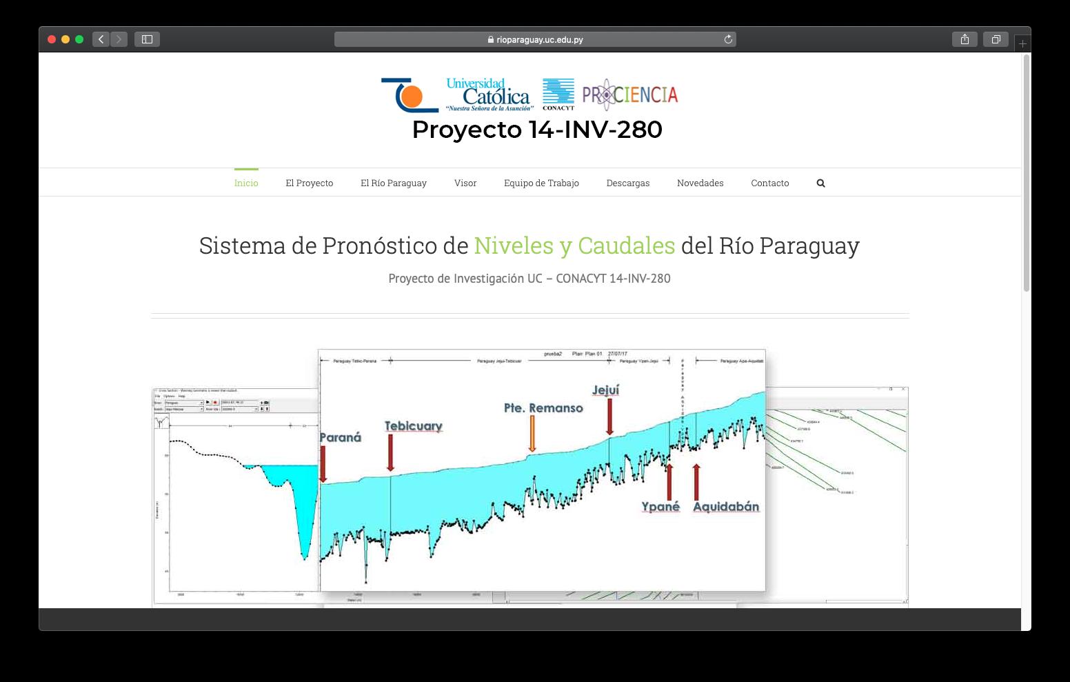 Sitio Web del Proyecto 14-INV-280 Sistema de Pronóstico de Niveles y Caudales del Río Paraguay