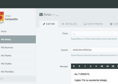 Aplicación Web Avisos Colegio Campoalto
